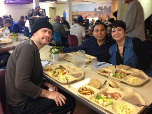 Your faithful and wooly-hatted scribe sharing lunch with Casa Esperanza staff members Imelda Loza and Jose Figueroa.