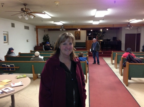 Jill Wallerstedt in the chapel, which features a  service from a different denomination each night